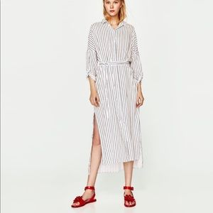 ZARA Midi Striped Belted Dress